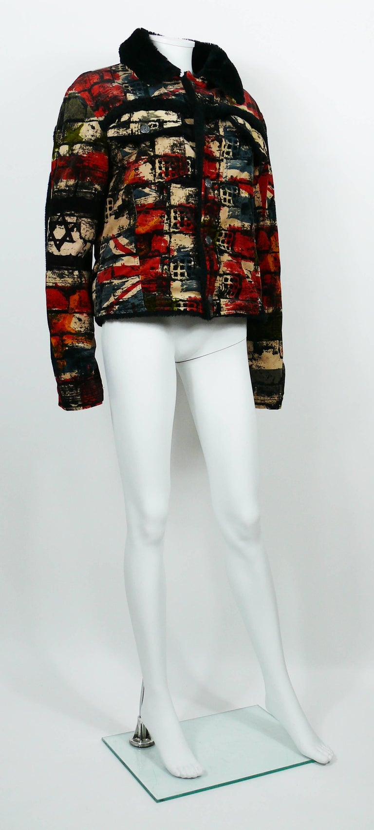 JEAN PAUL GAULTIER vintage jacket featuring a multi colored wall and flags print.  This jacket features : - Velvety touch material. - Faux fur collar. - Faux fur lining and seam details. - Classic collar. - Two chest pockets. - Front snap buttons. -