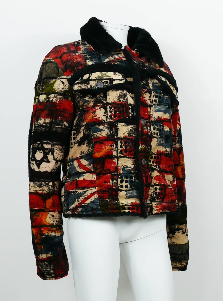 Red Jean Paul Gaultier Vintage Wall and Flags Print Jacket For Sale
