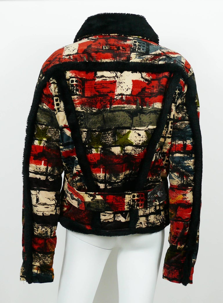 Women's or Men's Jean Paul Gaultier Vintage Wall and Flags Print Jacket For Sale