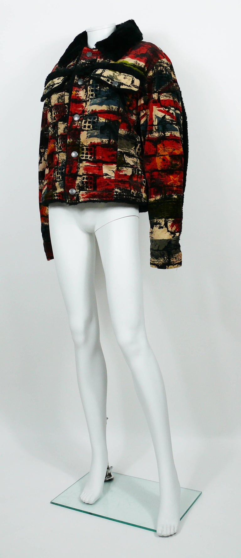Jean Paul Gaultier Vintage Wall and Flags Print Jacket For Sale 1