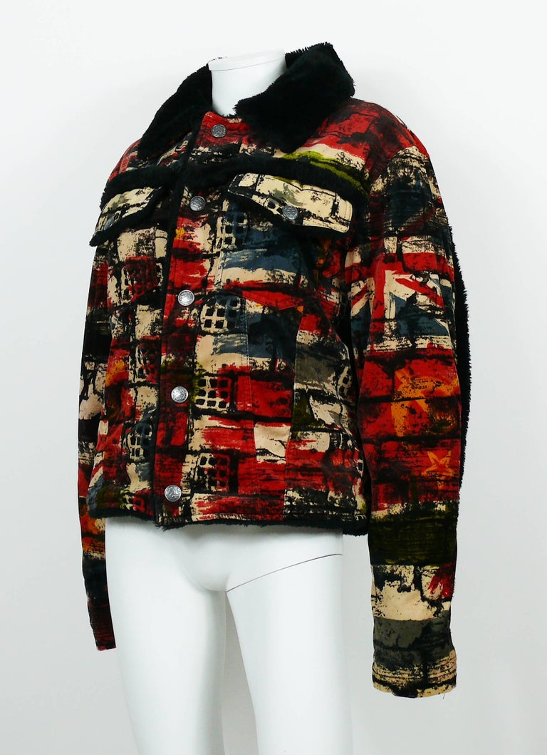 Jean Paul Gaultier Vintage Wall and Flags Print Jacket For Sale 2