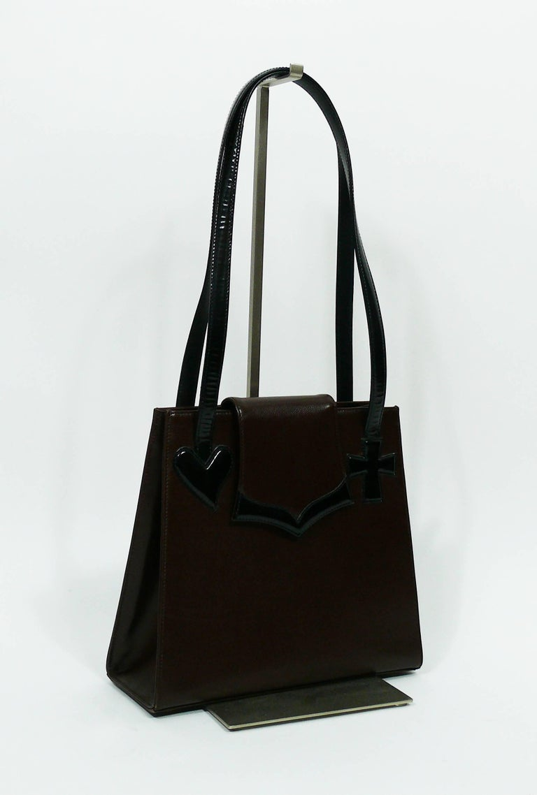 Christian Lacroix Vintage Brown Leather Bag With Black