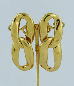 Yves Saint Laurent YSL Vintage Gold Toned Dangling Earrings