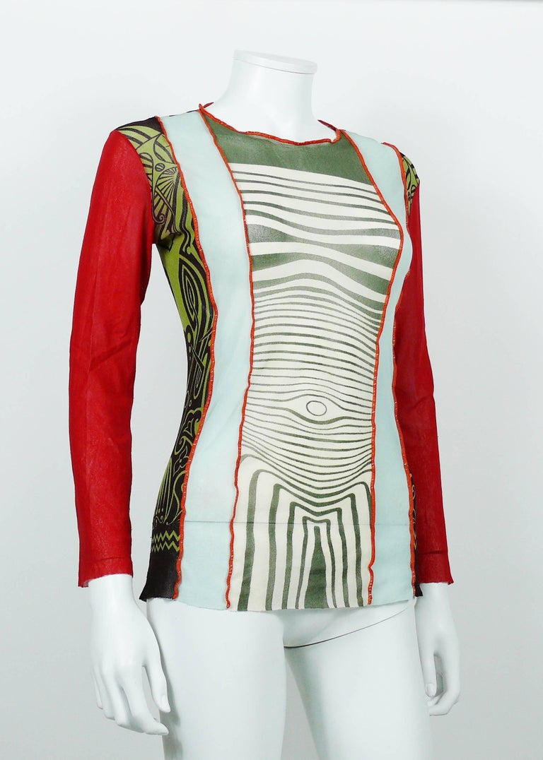 Jean Paul Gaultier Vintage 1996 Cyberbaba Body Map Optical Illusion Top Size L In Fair Condition In Nice, FR