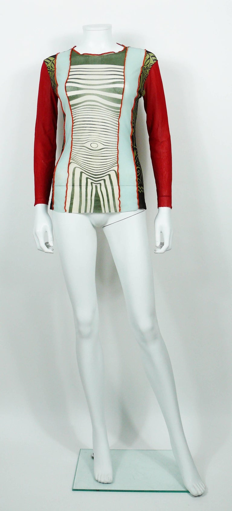 Women's Jean Paul Gaultier Vintage 1996 Cyberbaba Body Map Optical Illusion Top Size L