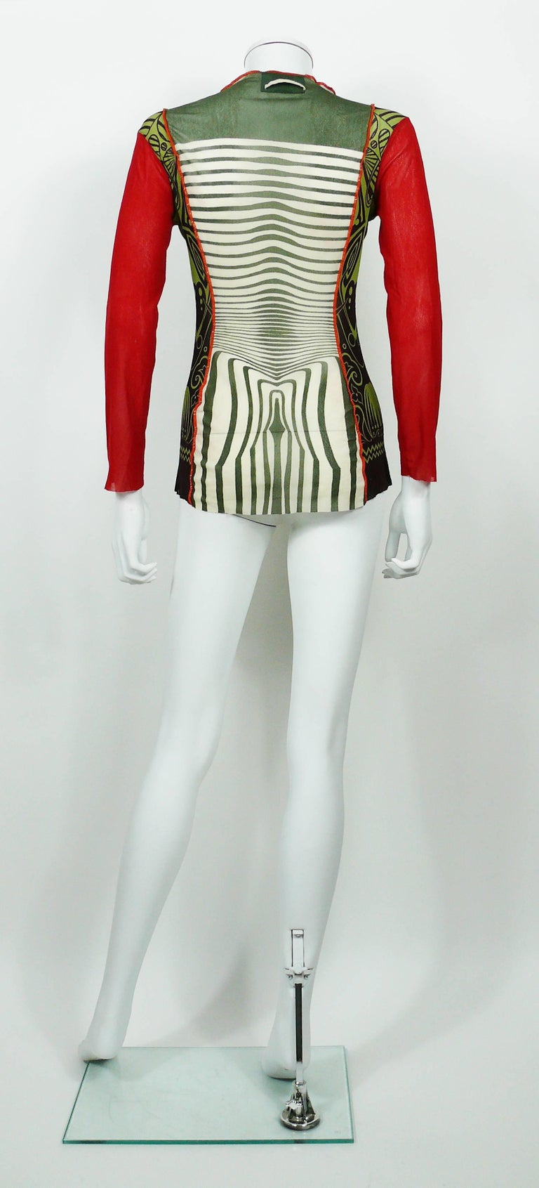 Jean Paul Gaultier Vintage 1996 Cyberbaba Body Map Optical Illusion Top Size L 3