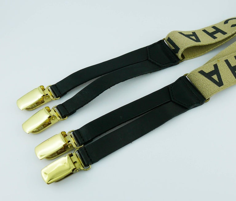 da8fc236e Chanel Vintage Iconic Light Brown and Black Suspenders at 1stdibs