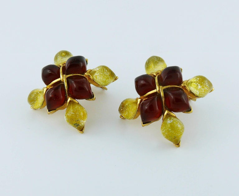Yves Saint Laurent YSL Vintage Clip-On Earrings with Glass Cabochon 4