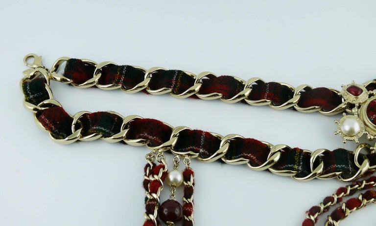 Chanel Tartan Chain Choker Necklace Pre-Fall 2013 Collection Paris-Edinburgh For Sale 3