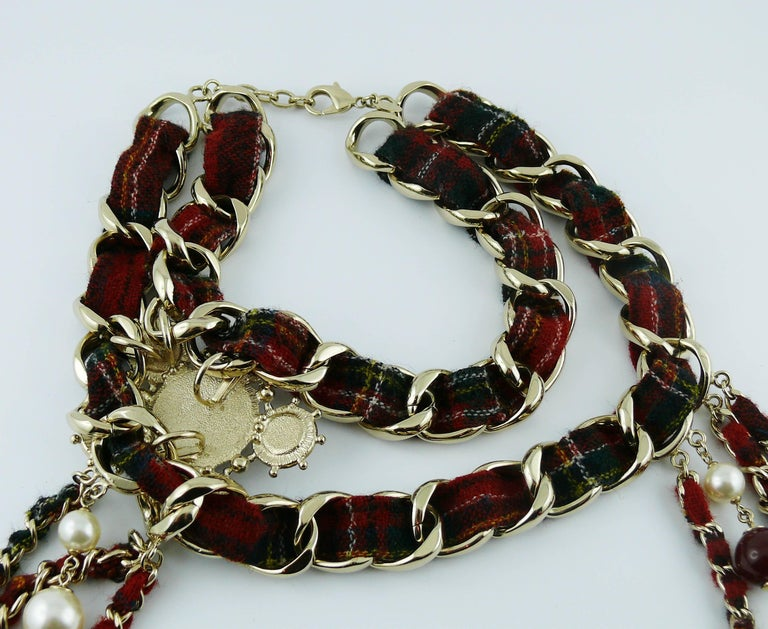 Chanel Tartan Chain Choker Necklace Pre-Fall 2013 Collection Paris-Edinburgh For Sale 4