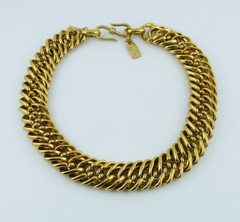 Yves Saint Laurent YSL Vintage Gold Toned Curb Chain Necklace For Sale 3