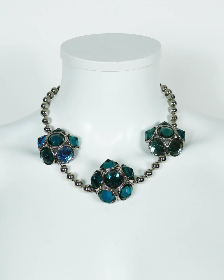 YVES SAINT LAURENT vintage silver toned necklace featuring faceted green-blue resin cabochons and ball link chain.  Lobster clasp closure. Extension chain.  Embossed YSL Made in France.  Indicative measurements : adjustable length from approx. 47 cm