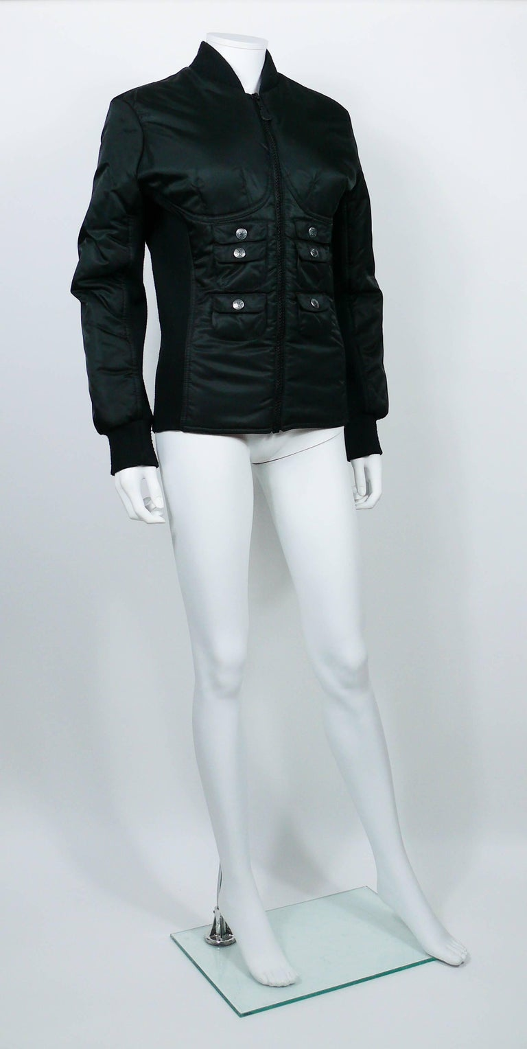 JEAN PAUL GAULTIER vintage black bomber jacket featuring a