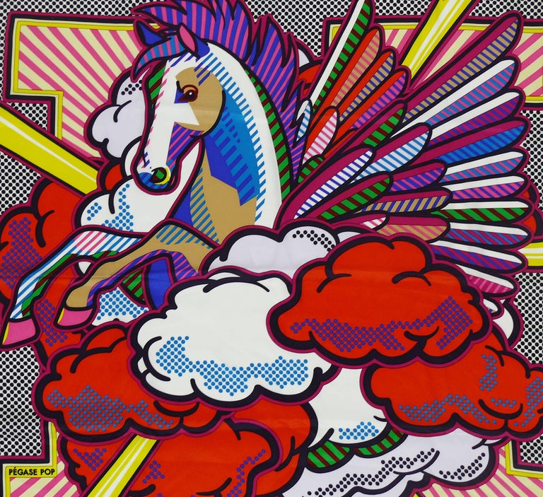 "HERMES rare silk scarf ""Pegase Pop"" designed by DIMITRI RYBALTCHENKO featuring an opulent equestrian design with vibrant pop colors.  Issue date : 2015.  Marked © HERMES .  Composition and care tag attached.  Indicative measurements :"