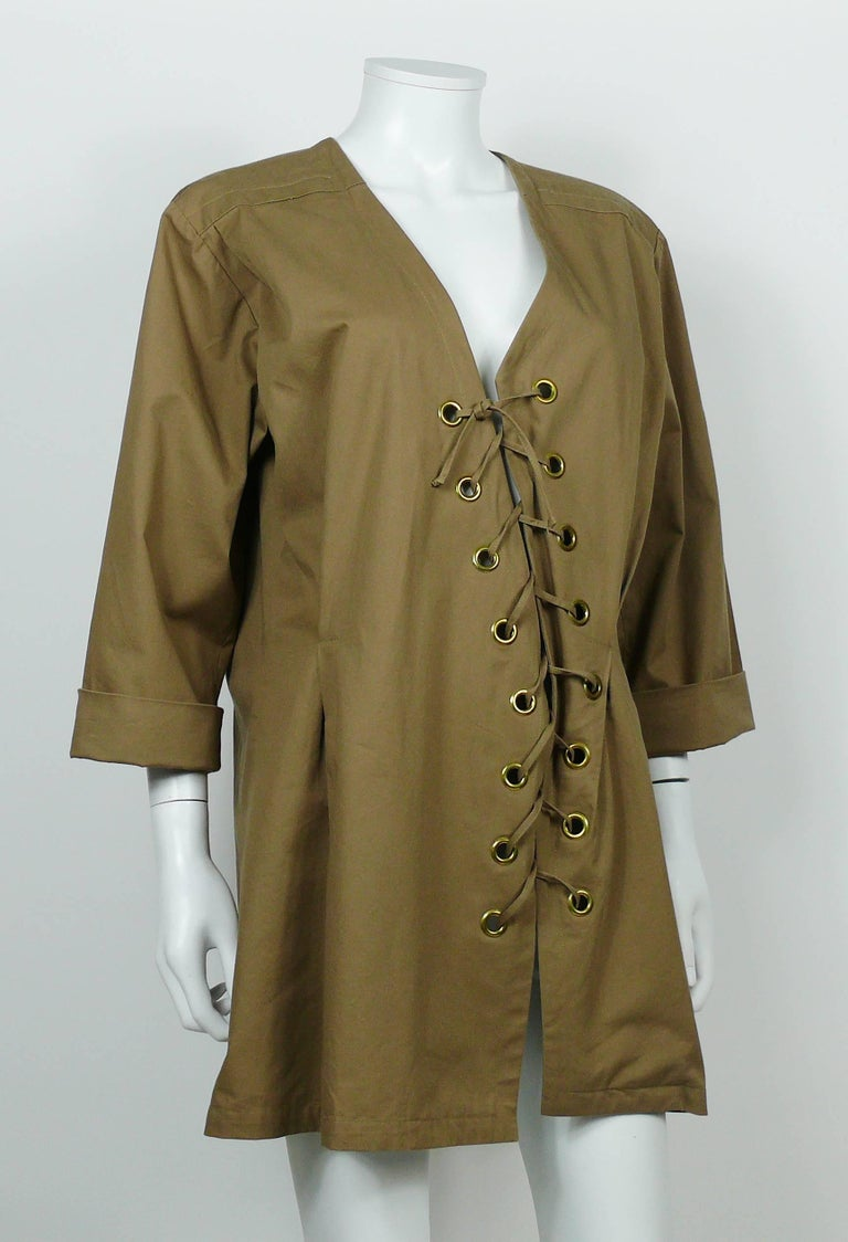 Yves Saint Laurent YSL Iconic Vintage Cotton Safari Tunic Dress, 1990s  3