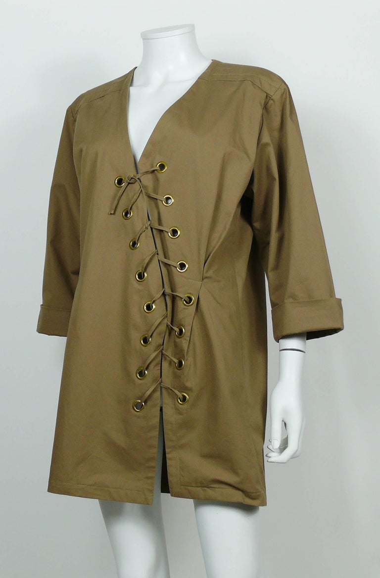Yves Saint Laurent YSL Iconic Vintage Cotton Safari Tunic Dress, 1990s  5