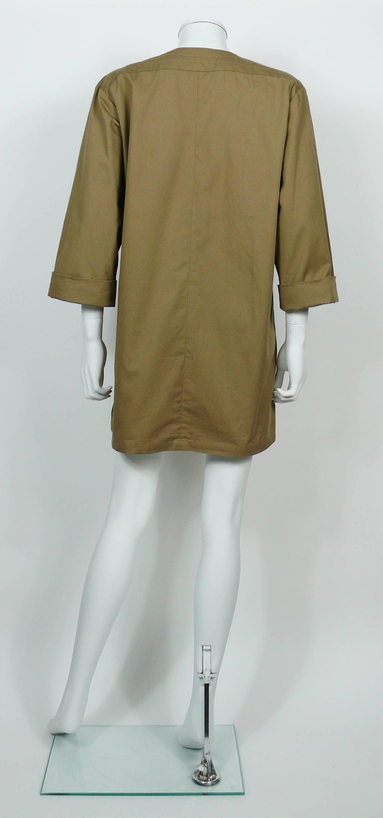 Yves Saint Laurent YSL Iconic Vintage Cotton Safari Tunic Dress, 1990s  7