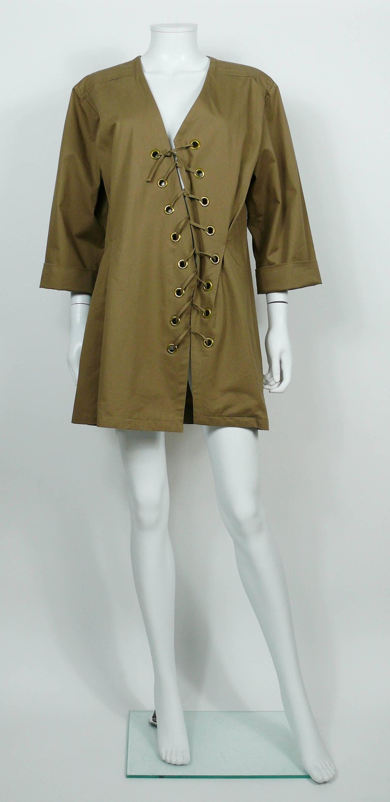 Yves Saint Laurent YSL Iconic Vintage Cotton Safari Tunic Dress, 1990s  4
