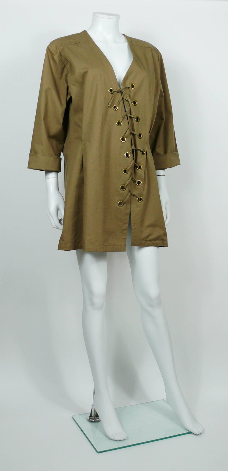 Yves Saint Laurent YSL Iconic Vintage Cotton Safari Tunic Dress, 1990s  2