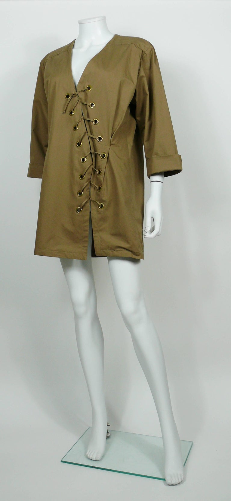 Yves Saint Laurent YSL Iconic Vintage Cotton Safari Tunic Dress, 1990s  6