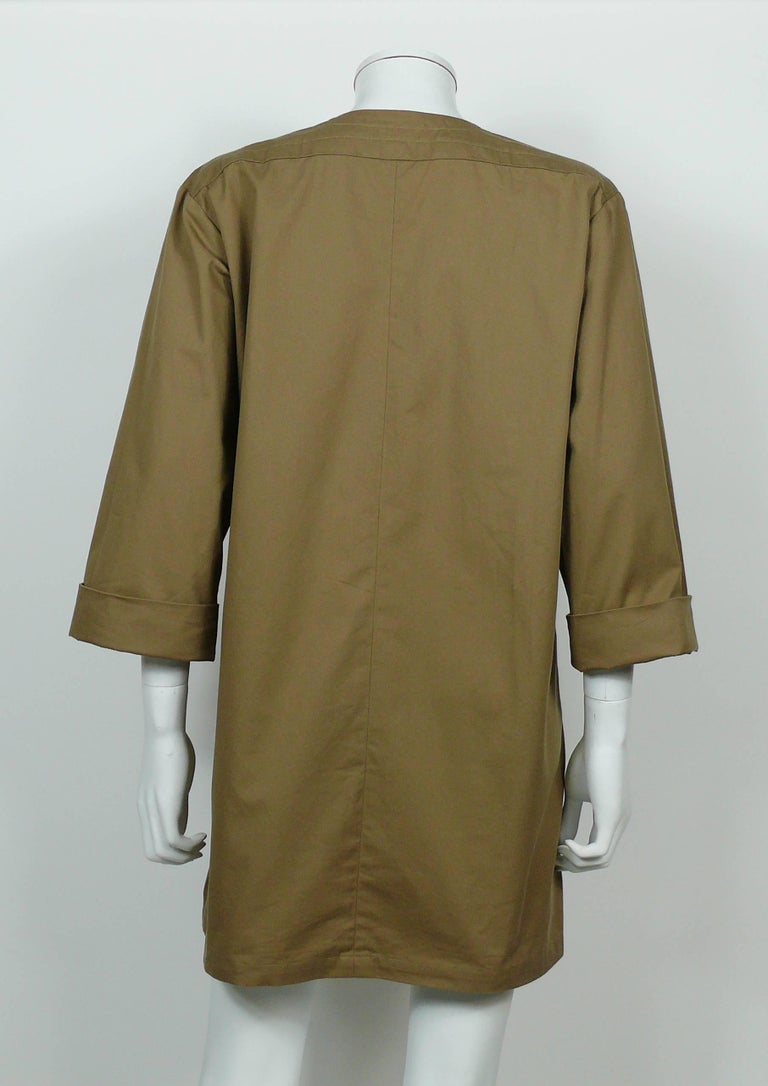 Yves Saint Laurent YSL Iconic Vintage Cotton Safari Tunic Dress, 1990s  8