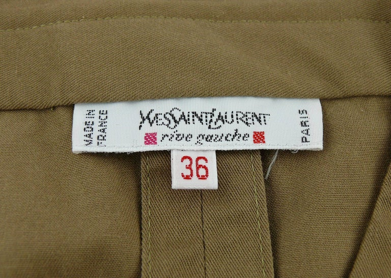 Yves Saint Laurent YSL Iconic Vintage Cotton Safari Tunic Dress, 1990s  9