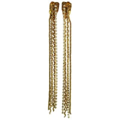Christian Lacroix Vintage Extra Long Chain and Crystal Earrings