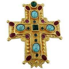 Christian Lacroix Vintage Massive Jewelled Gold Tone Cross Brooch Pendant