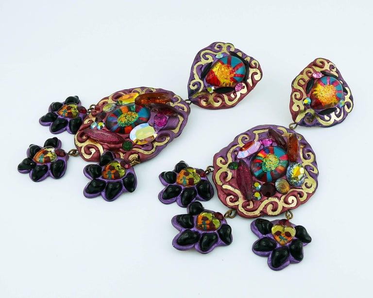 Women's Vintage French Oversized Dangling Earrings  For Sale
