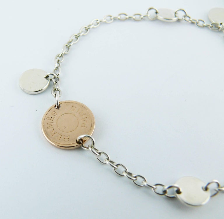 HERMES sterling silver and rose gold  quot CONFETTIS quot  bracelet. Spring  ring clasp. 4eff3693329