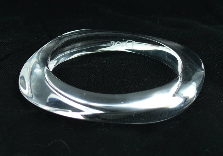 Christian Dior Clear Lucite Cuff and Bangle Bracelets Set For Sale 2