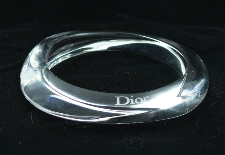 Christian Dior Clear Lucite Cuff and Bangle Bracelets Set For Sale 1