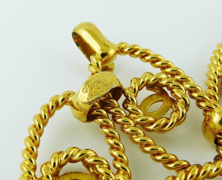 Chanel Vintage Gold Toned Logo Rope Link Belt For Sale 1