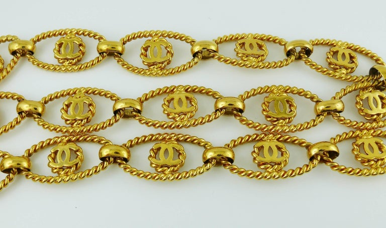 Brown Chanel Vintage Gold Toned Logo Rope Link Belt For Sale