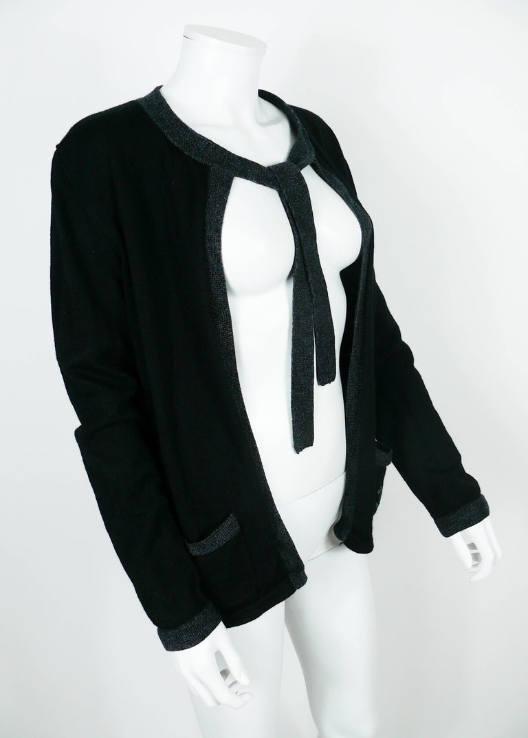 Chanel Employee Uniform Black Wool Cardigan with CC Logo Size XL In Good Condition For Sale In French Riviera, Nice