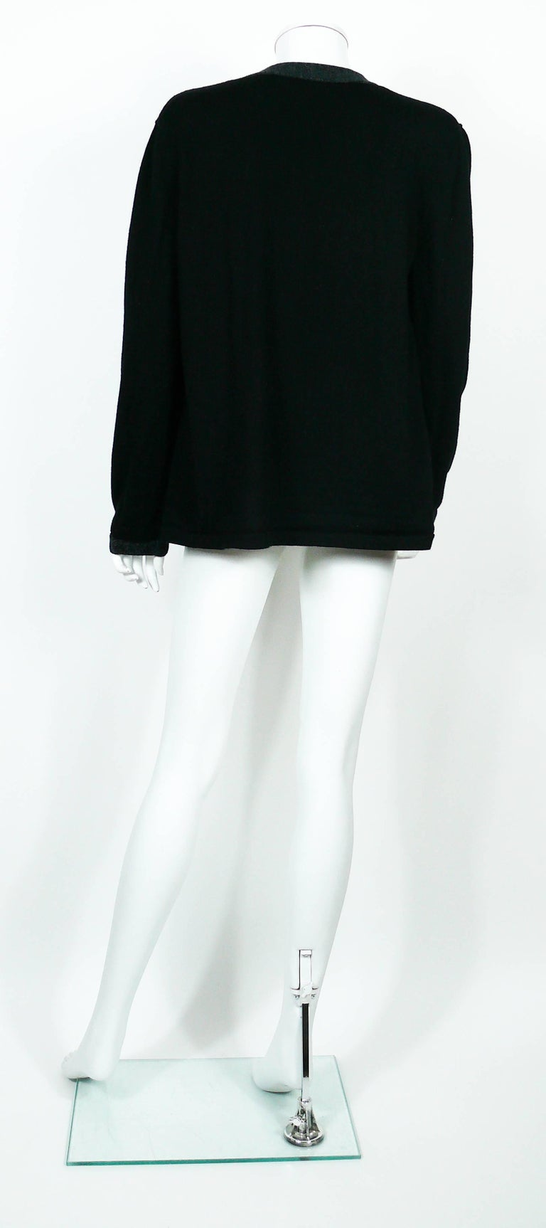 Chanel Employee Uniform Black Wool Cardigan with CC Logo Size XL For Sale 3