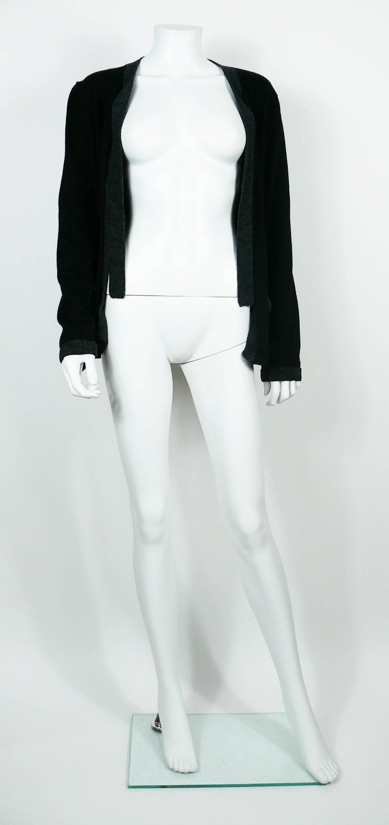 Chanel Employee Uniform Black Wool Cardigan with CC Logo Size XL For Sale 2