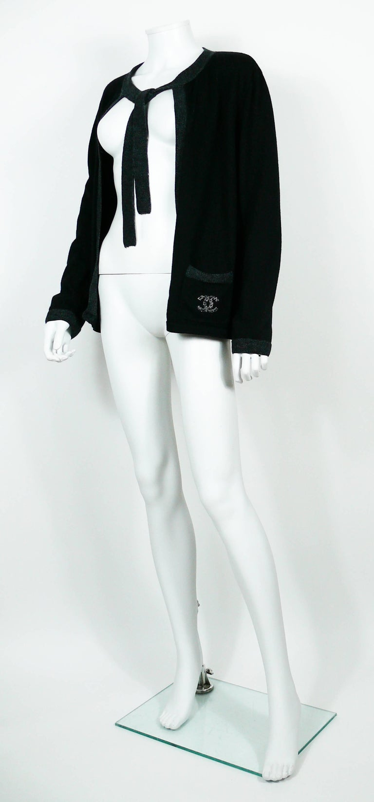 Women's Chanel Employee Uniform Black Wool Cardigan with CC Logo Size XL For Sale