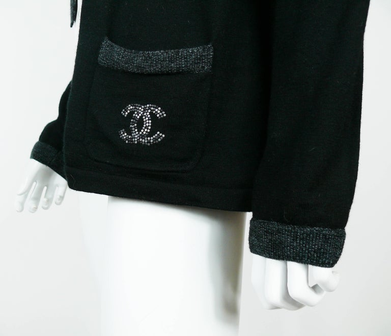 Chanel Employee Uniform Black Wool Cardigan with CC Logo Size XL For Sale 1