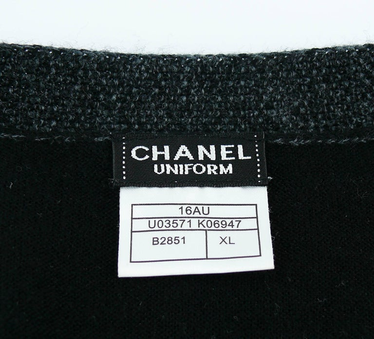 Chanel Employee Uniform Black Wool Cardigan with CC Logo Size XL For Sale 4