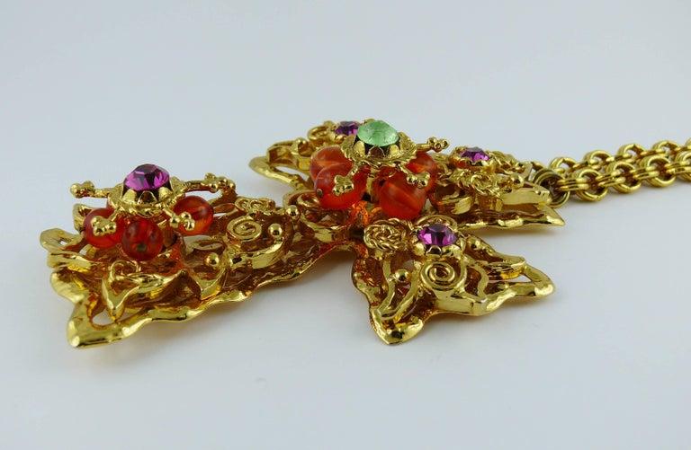 Women's Christian Lacroix Vintage Massive Jewelled Cross Pendant Necklace For Sale