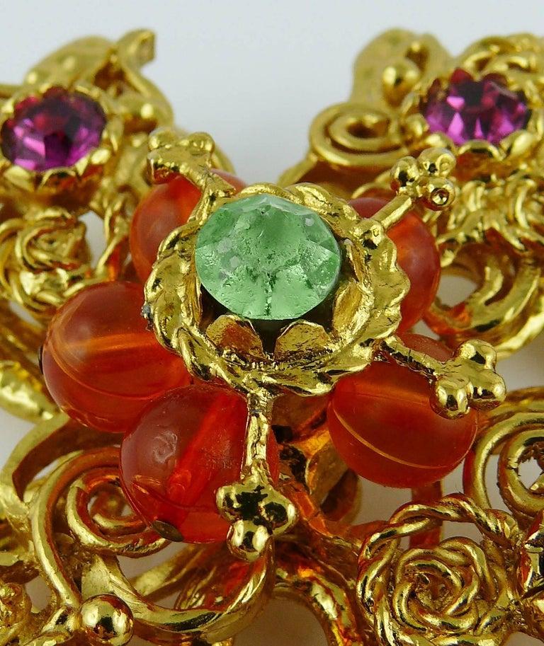Christian Lacroix Vintage Massive Jewelled Cross Pendant Necklace For Sale 7