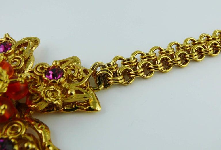 Christian Lacroix Vintage Massive Jewelled Cross Pendant Necklace For Sale 1