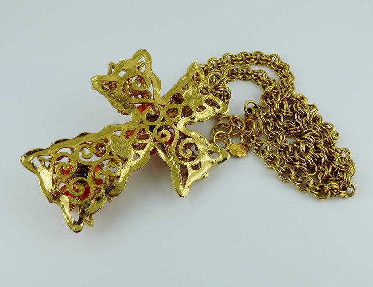 Christian Lacroix Vintage Massive Jewelled Cross Pendant Necklace For Sale 4