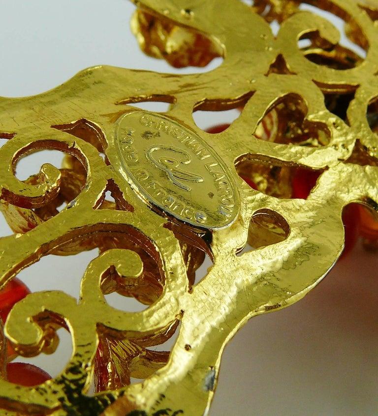 Christian Lacroix Vintage Massive Jewelled Cross Pendant Necklace For Sale 5