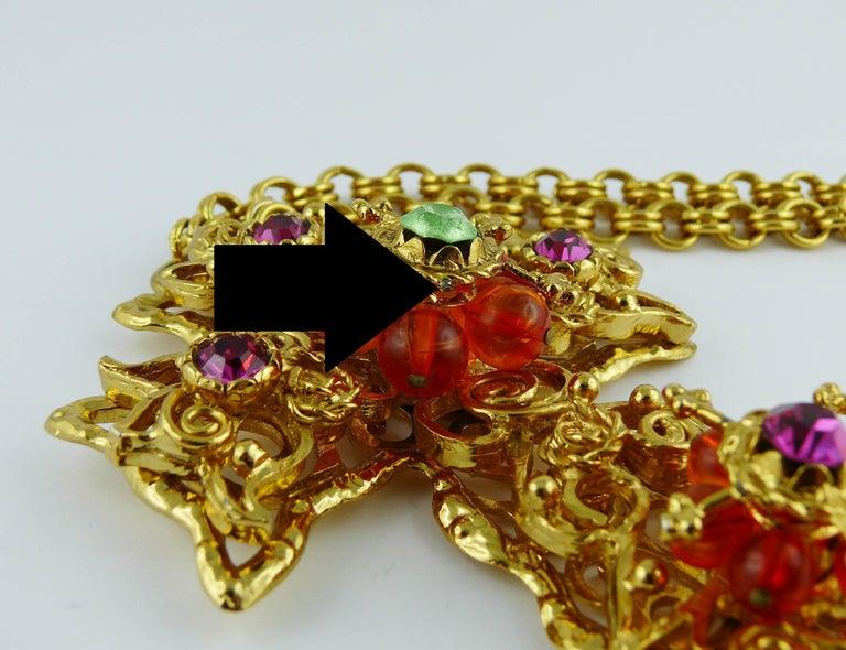 Christian Lacroix Vintage Massive Jewelled Cross Pendant Necklace For Sale 8