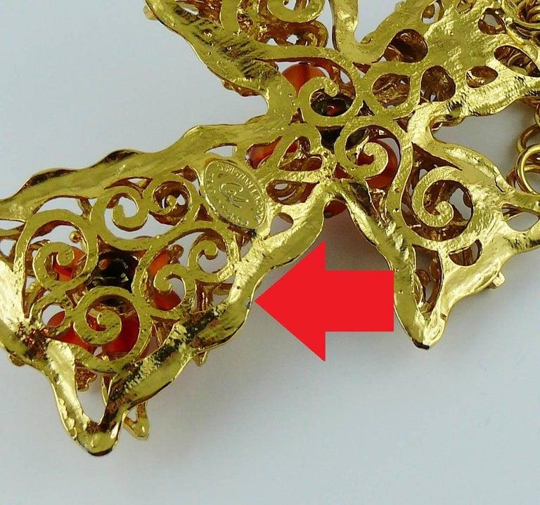 Christian Lacroix Vintage Massive Jewelled Cross Pendant Necklace For Sale 9
