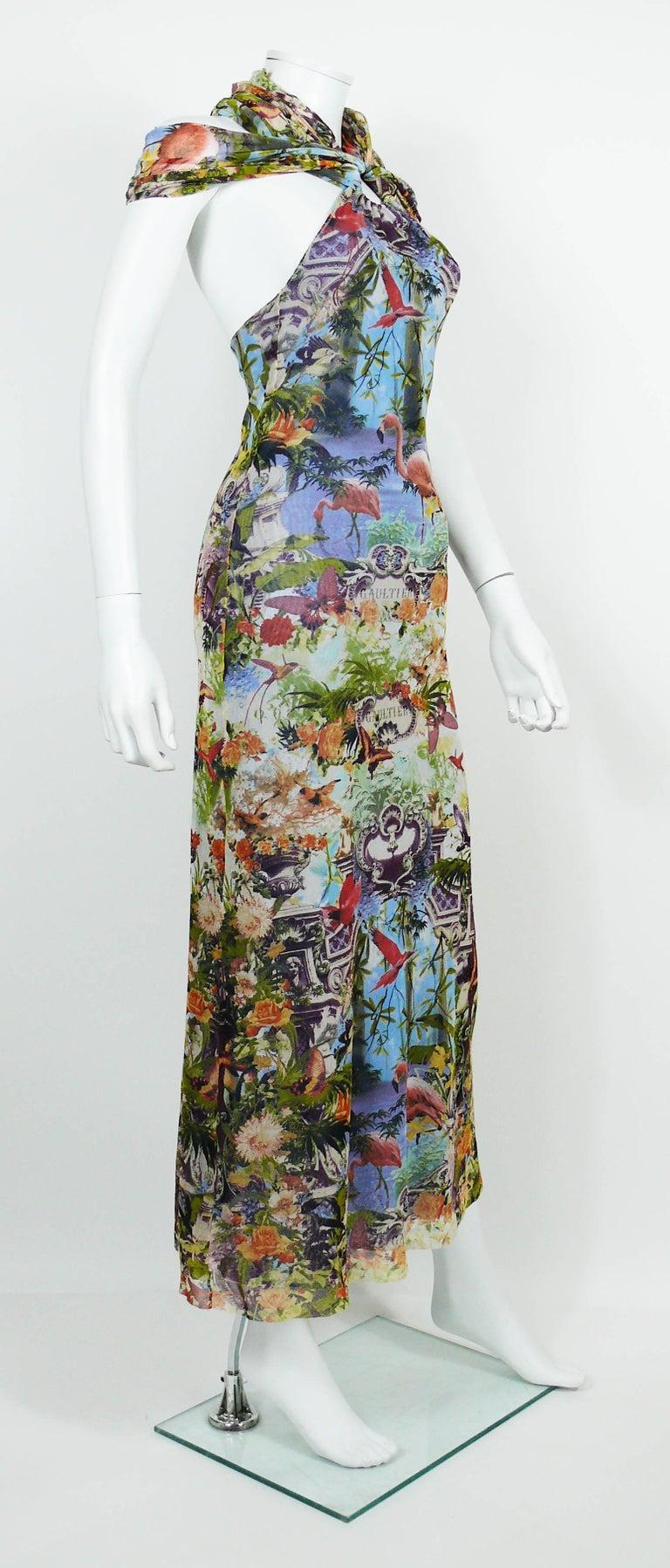 JEAN PAUL GAULTIER vintage tropical print sheer FUZZI mesh dress. This dress  features   - 69af17742