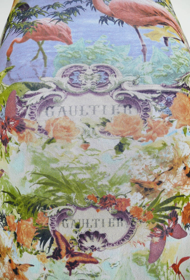 Jean Paul Gaultier Vintage Tropical Print Sheer Halter Dress For Sale 2 80b2536d6