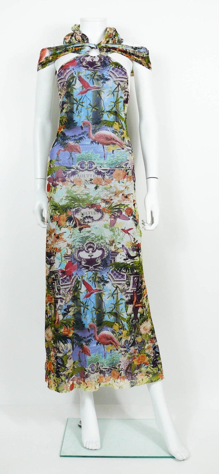 Blue Jean Paul Gaultier Vintage Tropical Print Sheer Halter Dress For Sale 84f8c36a0